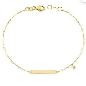 14k Solid Gold Bar and Diamond Charm Bracelet